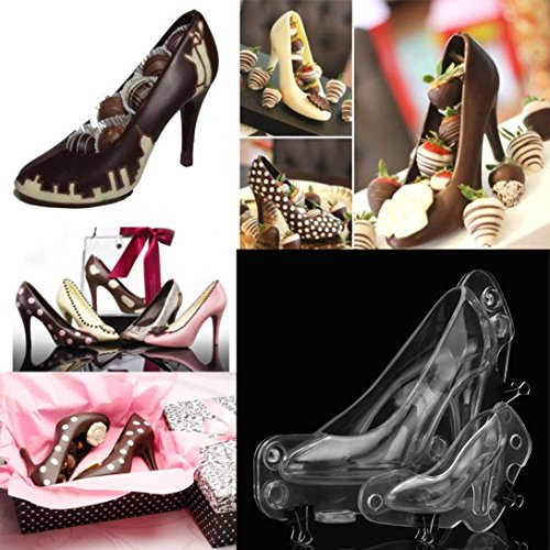 Chocolate Mold, Sacow 3D High Heel Shoe Chocolate Mould DIY Candy Cake Jelly Mold Wedding Decorating (A)