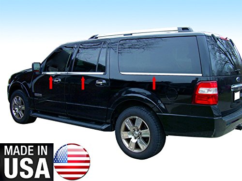 Made in USA! Works with 2007-2017 Ford Expedition EL Longer W/Keypad Cutout 6PC Window Sill Overlay - Ford Expedition Chrome Mirror