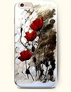 OOFIT Hard Phone Case for Apple iPhone 6 ( 4.7 inches) - Small Red Flowers - Oil Painting