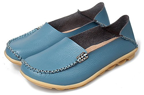 Fangsto Womens Cowhide Casual Slipper Loafers Moccasin Driving Shoes Flat Slip-Ons Light Blue Kxw3RQS0