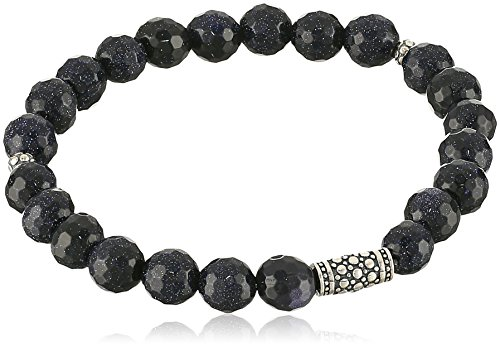 Bracelets Genuine Goldstone - Genuine Blue Goldstone with Oxidized Sterling Silver Bar and Accents Beaded Stretch Bracelet, 6.5