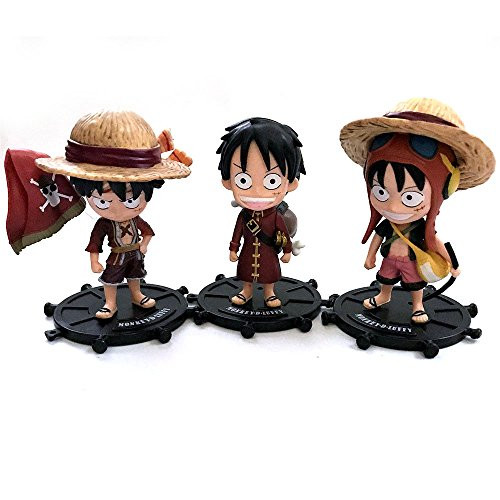 Anime One Piece Monkey D. Luffy Pirate 3PCS Figurine Set (Figurine Set Pirate)