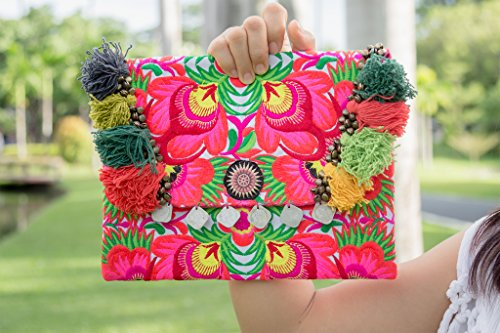 Changnoi Bohemian Ipad Holder Handmade Hill Tribe Embroidered Pom Pom Fair Trade Thailand by ChangnoiBags