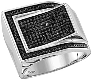 10kt White Gold Mens Round Black Colored Diamond Curved Rectangle Cluster Ring 1/2 Cttw
