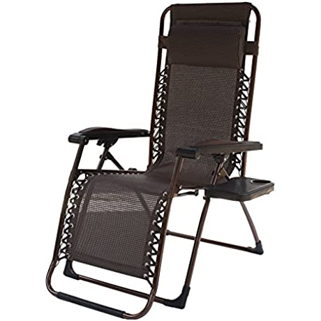 Le Papillon Zero Gravity Chair Outdoor Lounge Patio Pool Folding Yard Beach With Cup Holder Brown