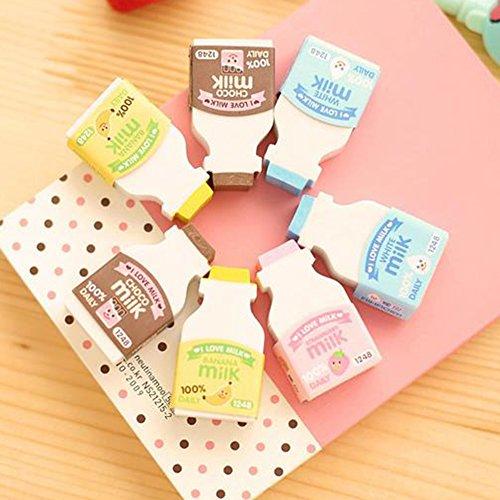 Random Color 2Pcs Random Color Cute Milk Bottle Style Eraser Office School Stationery Gift zsjhtc by zsjhtc (Image #2)