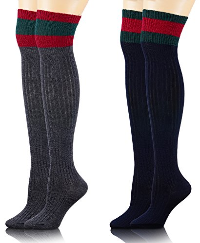 ProEtrade Womens Over Knee High Wool Cotton Warm Socks Stocking 2 Pairs (Navy Blue + Dark Grey)