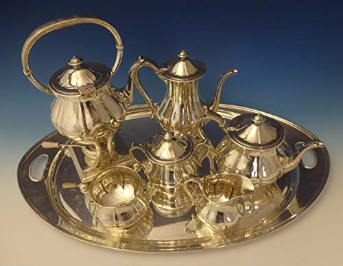Arthur Stone Sterling Silver Tea Set Tilting Kettle On Cradle w/Tray 7pc #0176 ()