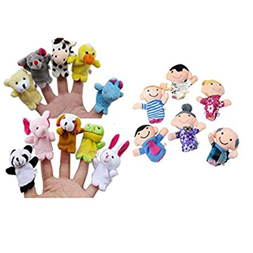 Black Boy Puppet (Hot Sale! Canserin 16PC Story Finger Puppets Toys 10 Animals+6 People Family Members Educational)