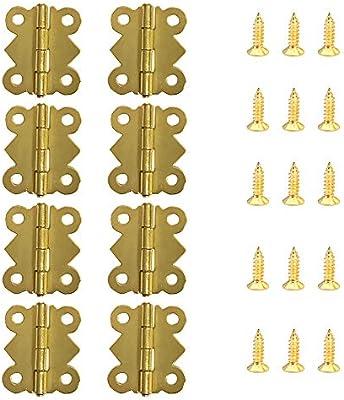 50 St/ück Mini Schrank Schublade Scharnier mit 200 St/ück 5 mm Mini Messing Scharnier Ersatz Schrauben