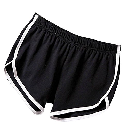 Soly Tech Women Summer Sports Shorts Gym Workout Waistband Skinny Shorts - Black Sports Shorts Womens