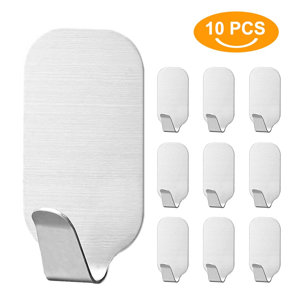QLF Pack 10 Self Adhesive Hooks for Kitchen Bathroom Office Closet,Heavy Duty Wall Hooks,Stainless Steel Hooks - Waterproof, No Drill Glue Needed (10 pcs) QLF younker