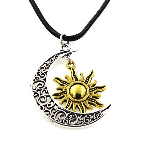 Steampunk - Moon and Sun Necklace Couples Love Chain Supernatural GOT Celtic Pendant - (Celtic Sun Moon)