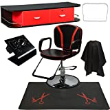 LCL Beauty Salon Styling Station Package: Adjustable Hydraulic Salon Barber Chair, Black Wall Mount Styling Station with Red Drawers, and 1/2 Thick Semi-Circle Anti-Fatigue Floor Mat Beauty Equipment