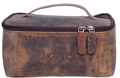 KomalC Genuine Unisex Vanity Leather Dopp kit - Travel Toiletry Bag Shaving Kit