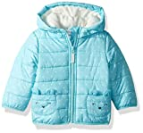 Carter's Toddler Girls' Fleece Lined Critter Puffer Jacket Coat, Turquoise Mouse, 3T
