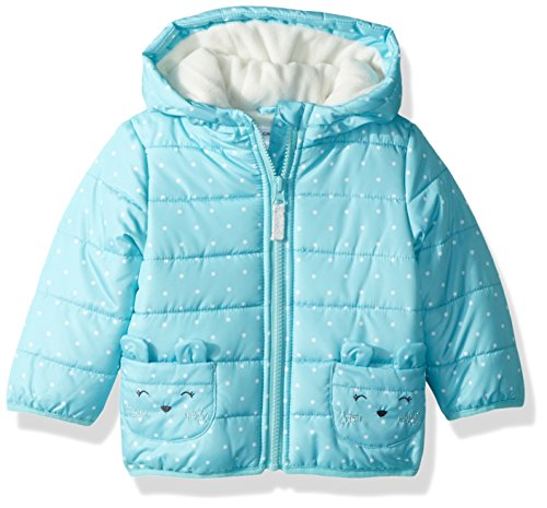 Carter's Girls' Toddler Fleece Lined Critter Puffer Jacket Coat, Turquoise Mouse, ()