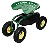 K&A Company Garden Cart Work Heavy Duty Tray Seat Tool Rolling Planting Gardening Green Pneumatic Wheel