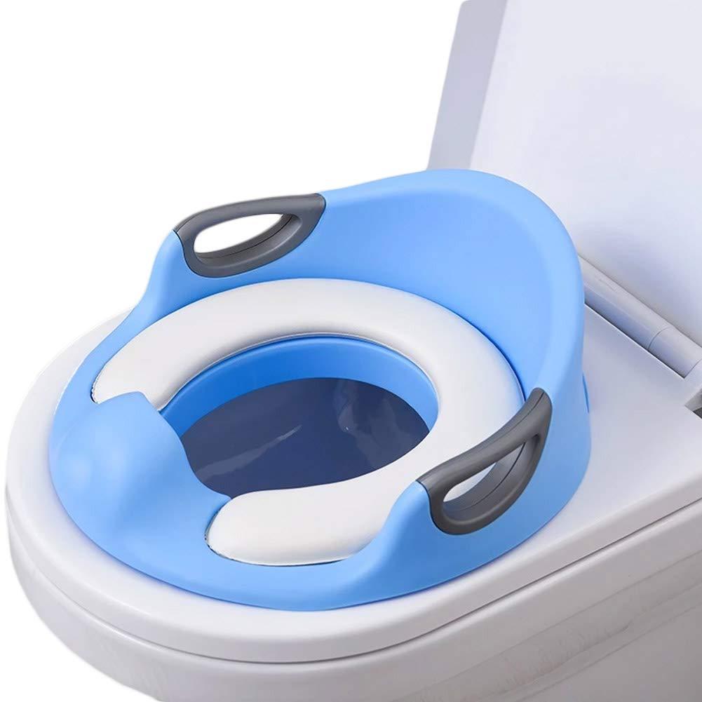 Asiento Inodoro para Ni/ños Reductor De WC para Beb/é Dise/ño Antideslizante con Reposabrazos Respaldo Ayuda para Aprender A IR Al Ba/ño Rosa Azul Blanco 33.5 33.5 15cm