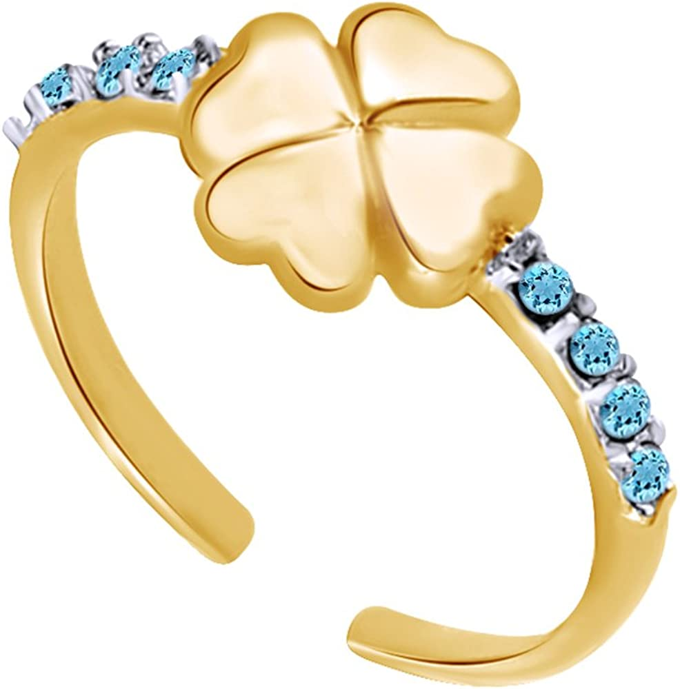 Christmas Holiday Sale Round Cut Simulated Aquamarine Shamrock Toe Ring in 14K Gold Over Sterling Silver