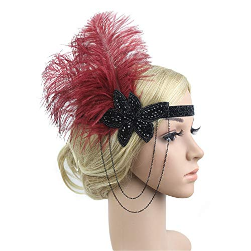(1920s Headpiece Feather Flapper Headband Great Gatsby Headdress Vintage Accessory (Red)