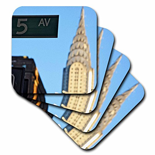 3dRose LLC The Chrysler Building is An Art Deco Skyscraper in New York City, Located on The East Street Coaster, Soft, Set of 4 -