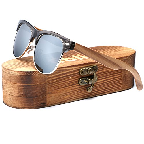 Ablibi Bamboo Wood Clubmaster Sunglasses with Polarized Lenses in Original Boxes (Zebra Wood, - Style Men Sunglasses Clubmaster