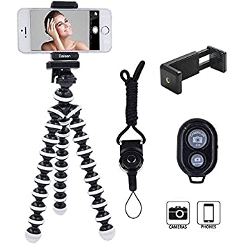 DAISEN Camera Tripod, Octopus Camera Holder and Phone Tripod for iphone/Universal Smartphone/Cell phone/Camera Arbitrary installed With Remote Control(White)