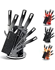 KITCHEN KING - 8 Piece Professional Quality Chef Kitchen Knife Set, Includes Sharpener, Stand & Vegetable Peeler, Ultra Sharp Cutlery for Cutting and Cooking