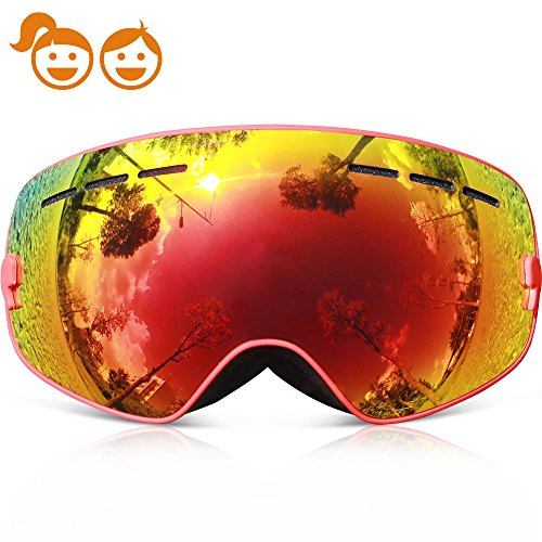 Ski Goggles Kids,COPOZZ G3 Kids Youth Girls Boys Ski Snow Snowboard Goggles - Double Lens Anti Fog Over Glasses Frameless Design Silicone Strap For Toddler Junior Child Baby Snowboarding Red by COPOZZ
