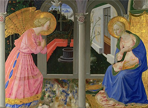 'Zanobi Strozzi The Annunciation ' Oil Painting, 16 X 22 Inch / 41 X 55 Cm ,printed On Perfect Effect Canvas ,this High Definition Art Decorative Prints On Canvas Is Perfectly Suitalbe For Dining Room Gallery Art And Home Decoration And Gifts