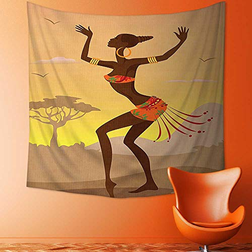 Printsonne Art Hippie Tapestry Ethnic Lady in Ritual Dance Person in Psychedelic Style Figures Artisan Image Brown Bedspread Picnic Bedsheet Tapestry by Printsonne
