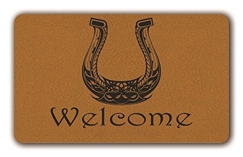 (UlanLi Horseshoe Welcome Doormat Door Mat Indoor/Outdoor Rubber Non Slip Doormat For Patio Front Door 18 x 30 Entrance Floor Mat)
