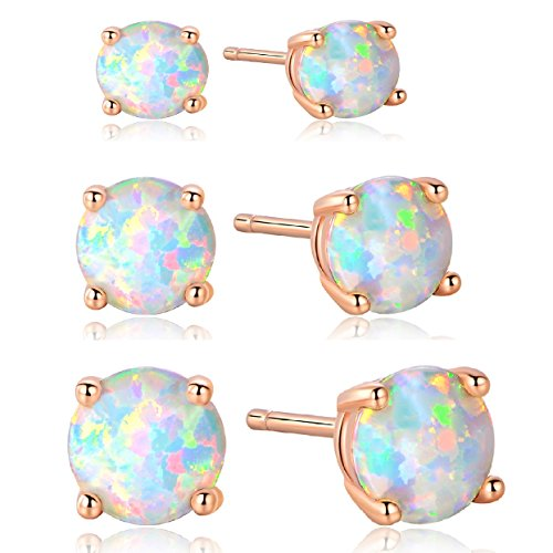 GEMSME 18K Rose Gold Plated 3/5/7mm Round Opal Stud Earrings Pack of 3 (Mens Jewelry Earrings)