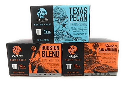 Cafe Ole Taste of Texas Gourmet Coffee K Cups Gift Assortment, 12ct. (36 Cups) Houston Blend, Texas Pecan, Taste of San -
