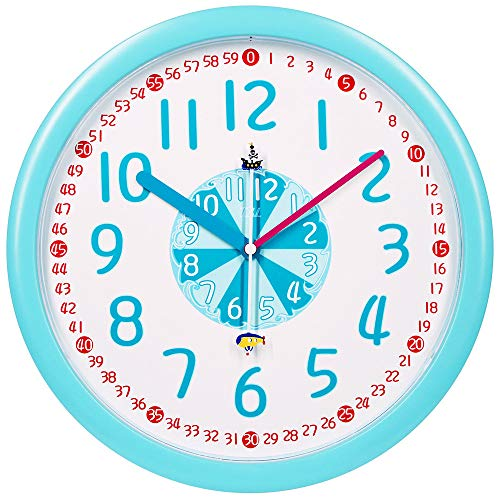 """TXL Large Kids Silent 12"""" Analog Teaching Wall Clock for Kids Bedroom, Playroom, Study Room, Living Room, Classroom. Educational Material for Parents and Teachers, Blue"""