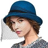 Maitose&Trade; Women's Wool Felt Flowers Church Bowler Veil Hats Blue