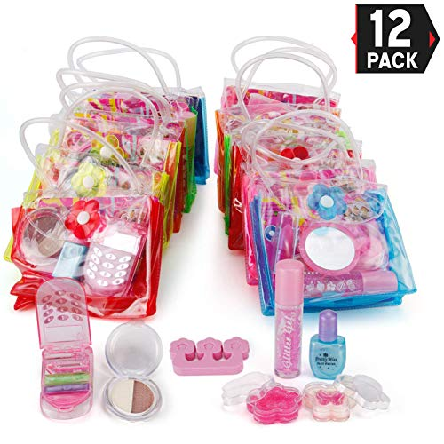 Liberty Imports 12 Petite Girls Cosmetic Sets in Bag | Washable & Non Toxic Real Makeup Kits | Bulk Pretend Play Party Favors Gifts (1 Dozen) ()