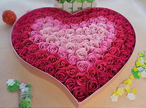 100pcs Fragrant Rose Bud Petal Soap Wedding Favor+ Heart Shape Box (Pink)