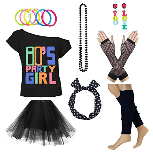 80's Party Girl Retro Costume Accessories Outfit Dress for 1980s Theme Party Supplies (L/XL, Black)