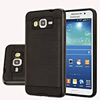 Samsung Galaxy J3 Case, [Dual Layer: Thin Silicone Interior + Heavy Duty Solid PC Back] Slim and Lightweight Case with Scratch Resistant Brushed Su