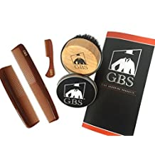 GBS Combo Set (4 Pc Kit) Premium Compact Wood Beard Brush with Synthetic/Nylon Bristles & Travel Tin, Tortoise Pocket Comb, Tortoise Pocket Beard and Moustache Comb & Tortoise Dressing Comb by GBS