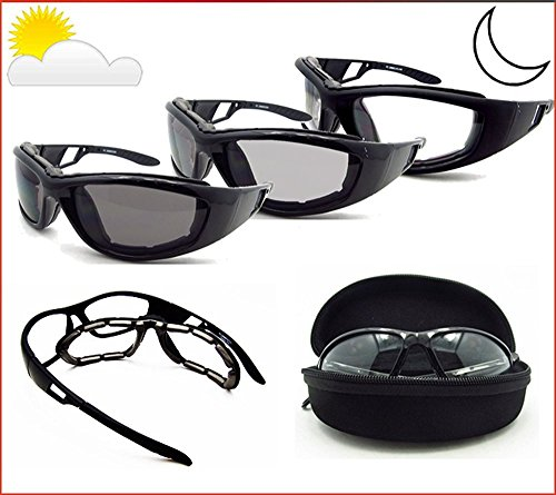 Motorcycle Transitional Sunglasses Foam Padded with Photochromic Lenses and Removable Foam Cushion. Free Hard Case. - Motorcycle Photochromic Sunglasses