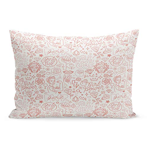 (Semtomn Throw Pillow Covers Pink Pattern and Hand Lettering Phrases Related to Girl Power Feminist Movement Abstract Woman Pillow Case Cushion Cover Lumbar Pillowcase for Couch Sofa 20 x 36 inchs)