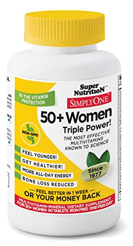90 Multivitamin Tabs Women - Super Nutrition, Simply One Women No Iron 50 Plus, 90 Tablets