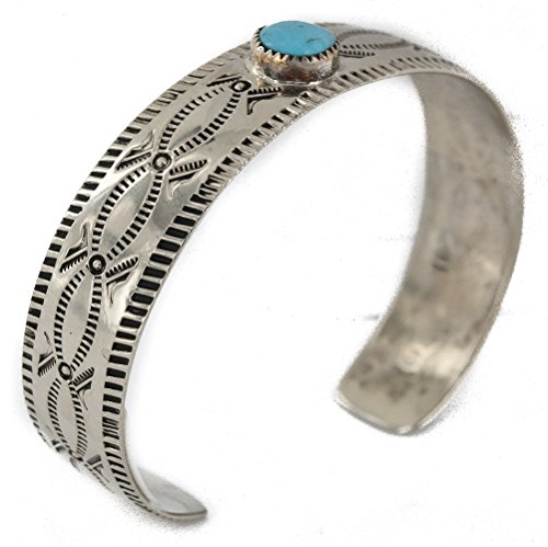 Navajo Native American Turquoise Ring ($180 Retail Tag Handmade Authentic Nickel Made by Robert Little Navajo Natural Turquoise Native American Bracelet)