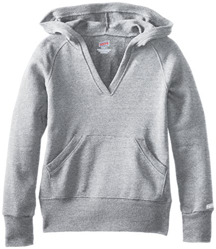 - Soffe Big Girls' Rugby Deep V Hoodie, Oxford, Large