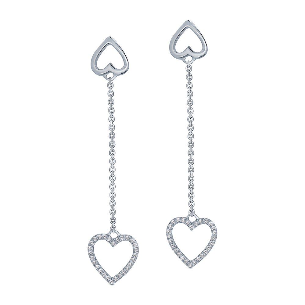 1/7 cttw Round White Diamond Sterling Silver Heart Tassel Earring Drop Dangle Heart Earring