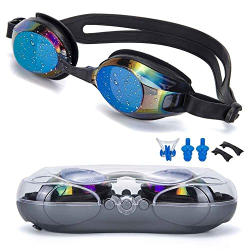 SIXBOX Swim Goggles Leak Free Anti UV Lens Adjustable Shoulder Strap Triathlon Swimming Goggles Anti Fog Nose Clip, Ear Adult Male, Female, Kids,Youth (Black Color)