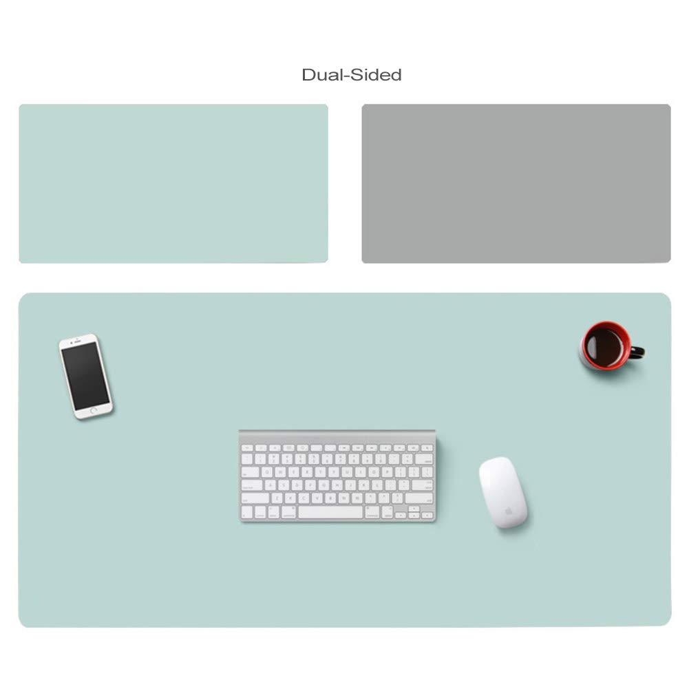Pu Leather Desk Blotter Office Desk Mat Writing Gaming Mouse Pad with Comfortable Writing Surface Waterproof-Pink+Silver 120x60cm 47x24inch